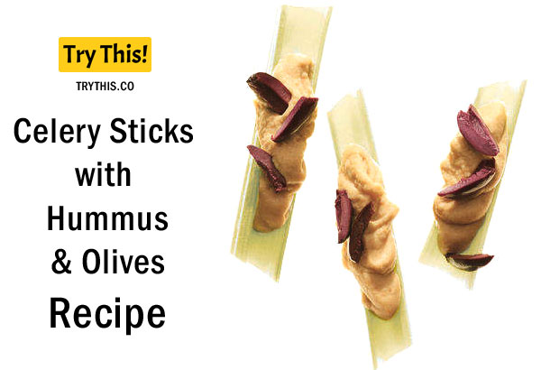 Celery Sticks with Hummus and Olives