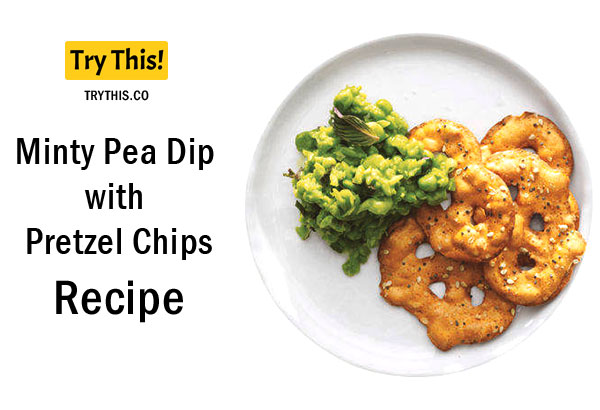 Minty Pea Dip with Pretzel Chips