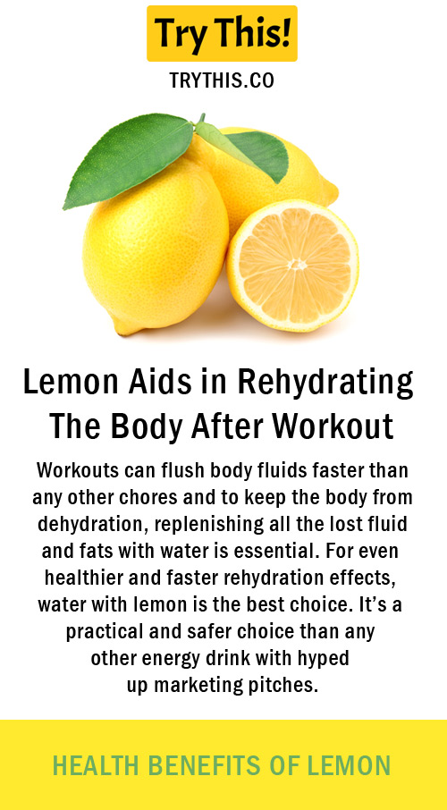 Lemon Aids in Rehydrating The Body After Workout