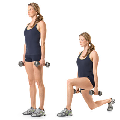 Dumbbell Rear Lunge - 7 Days Beginner's Workout Plan